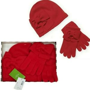 KATE SPADE Knit Red Dorothy Bow Beanie Hat with Matching Gloves Set with Box, OS